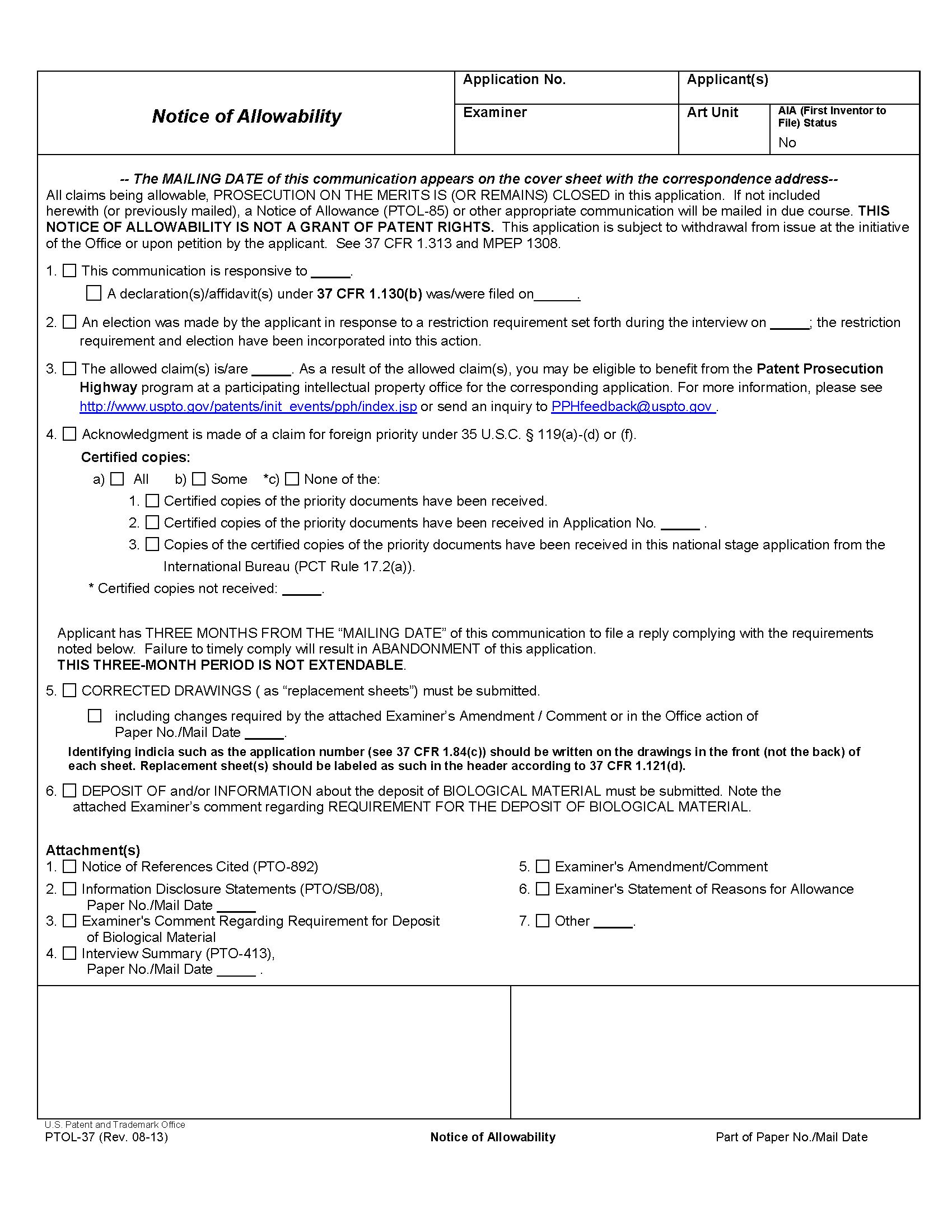 Mpep 1302 03 Notice Of Allowability Jan 2018 Bitlaw