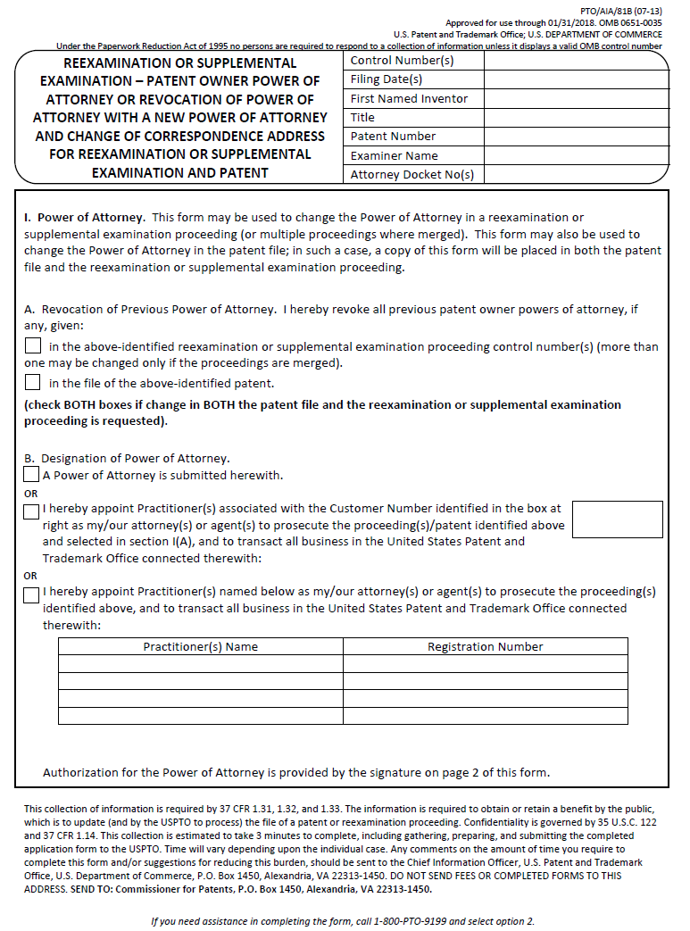 page 1 of form ptoaia81b reexamination or supplemental examination patent owner