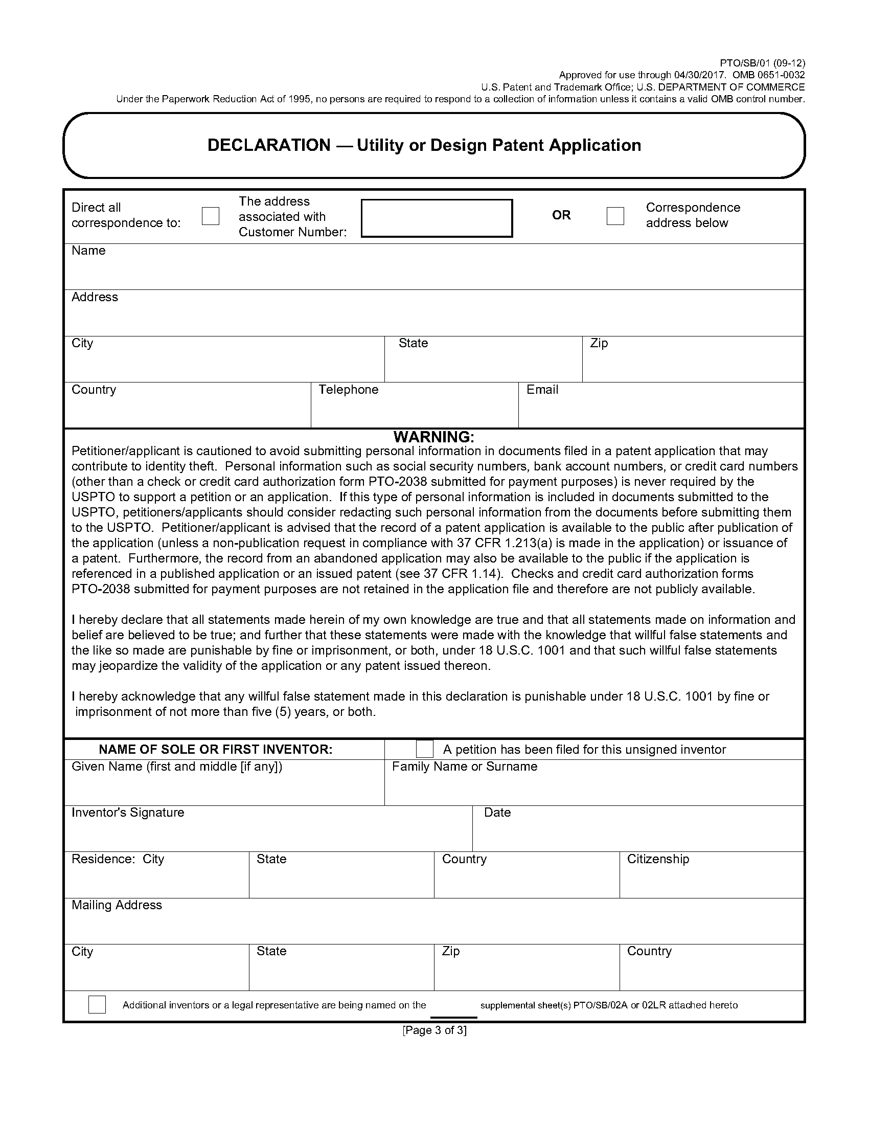 Patent forms for applications filed before september 16 for Utility patent application template