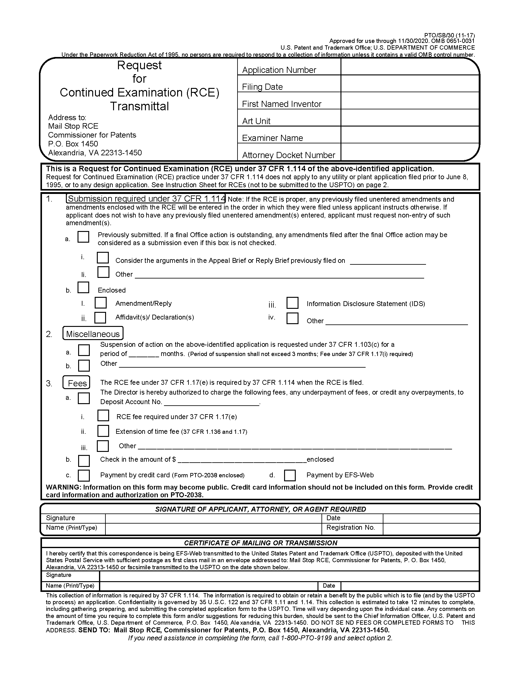 MPEP 706.07(h): Request for Continued Examination (RCE) Practice ...